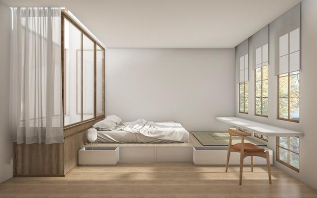3d, das schlafzimmer der japanischen art mit minimaler dekoration überträgt