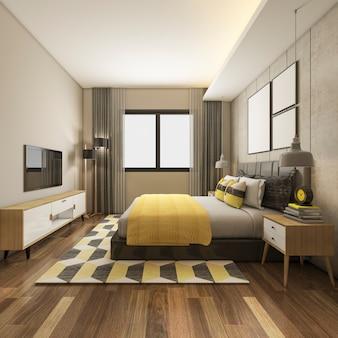 3d, das schöne gelbe luxusschlafzimmersuite im hotel mit fernsehen überträgt