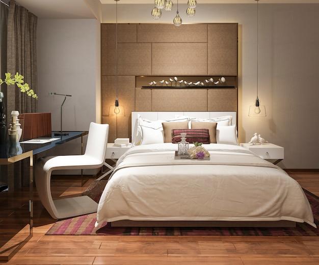 3d, das schöne luxusschlafzimmersuite im hotel mit fernsehen überträgt