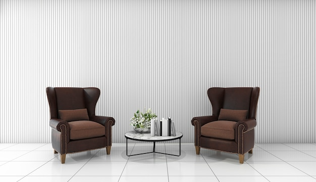 3d, das schönes ledernes sofa im weißen minimalen raum überträgt