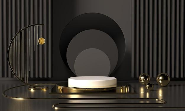 3d, das schwarze podiumgeometrie mit goldelementen überträgt. leeres podium der abstrakten geometrischen form. minimale szenenquadratschrittboden-zusammenfassungszusammensetzung