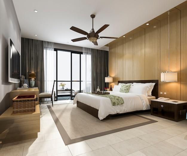 3d, das tropische luxusschlafzimmersuite im urlaubshotel und im erholungsort überträgt
