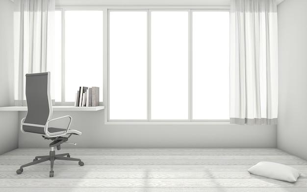 3d, das weißen minimalen arbeitsrauminnenraum mit funktionstabelle überträgt