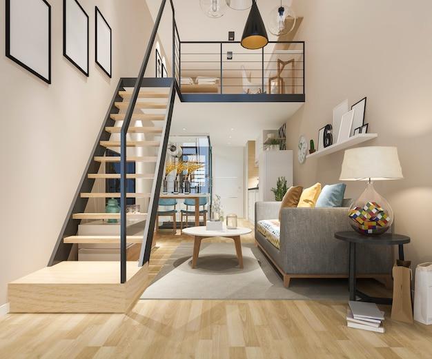 3d, das weißes hölzernes wohnzimmer nahe schlafzimmer oben überträgt