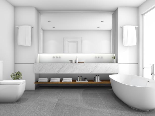 3d, das weißes luxusbadezimmer nahe fenster überträgt