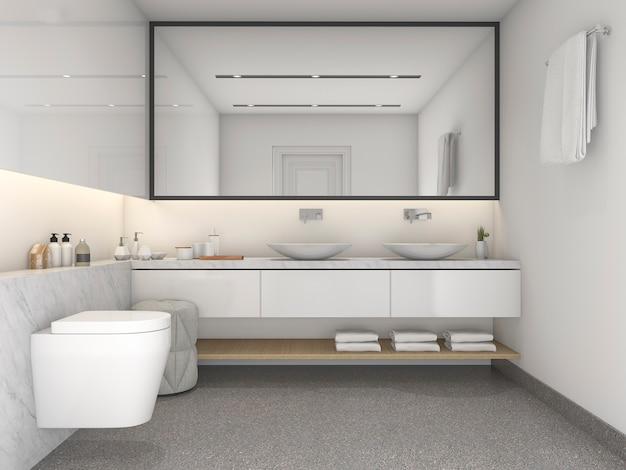 3d, das weißes minimales badezimmer der modernen art überträgt
