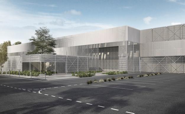3d, das weißes modernes industrielles metall- und stahlkonstruktionsgebäude mit baum und blauem himmel überträgt