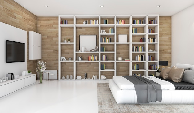 3d, das zeitgenössisches hölzernes schlafzimmer mit eingebautem bücherregal überträgt