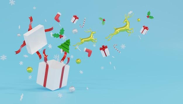 3d, das zwei rentiersprung von der weißen geschenkbox mit redribbon und schneeflocken auf blauem hintergrund darstellt.