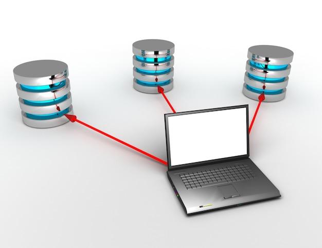 3d-datenbankkonzept mit laptop