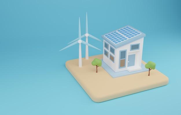 3d der illustration für erneuerbare energien. erneuerbare energie mit hausstromsystem. 3d-rendering