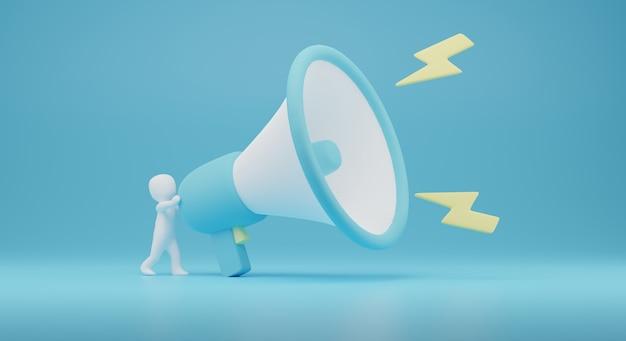 3d der person teilen mit megaphone.marketing 3d render illustration. 3d-rendering
