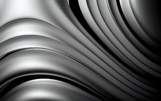 3d des abstrakten hintergrunds mit einem teil der kugel in organisch gekrümmten glatten weichen und runden bioformen in mattem und glänzendem aluminium