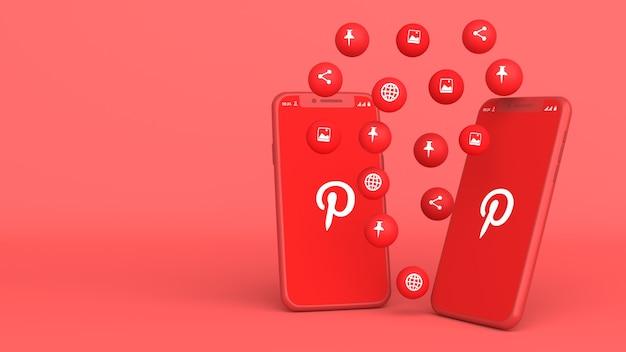 3d-design von zwei telefonen mit pinterest-popup-symbolen