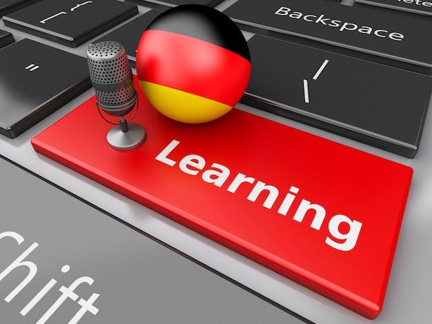 3d deutschland auf computertastatur mit einem mikrofon lernend.