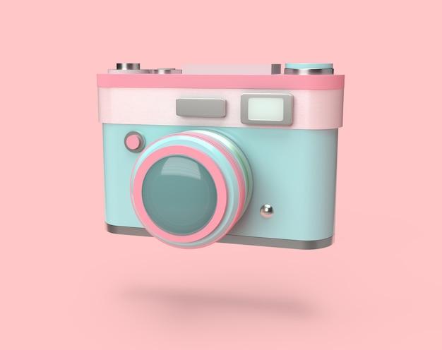 3d, die bunte pastellkamera auf rosa hintergrund überträgt
