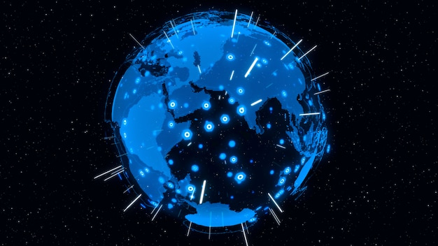 3d digital earth-konzept des globalen netzwerks
