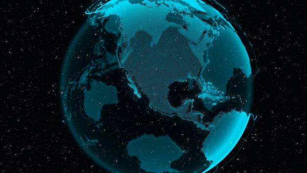 3d digital earth zeigt das konzept eines globalen netzwerks