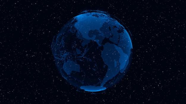 3d digital earth zeigt konzept des globalen netzwerks