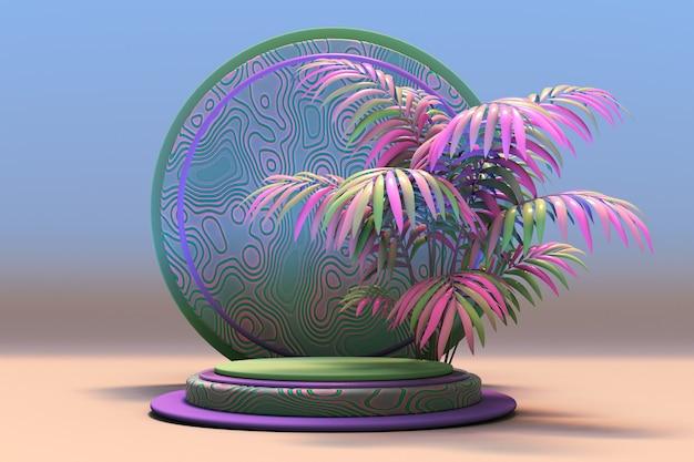 3d-display mit exotischer rosa grüner palme und abstraktem muster blauem hintergrund mit rundem podium