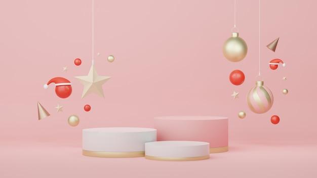 3d-display-podium für produkt- und kosmetikpräsentation mit weihnachts- und frohes neues jahr-konzept