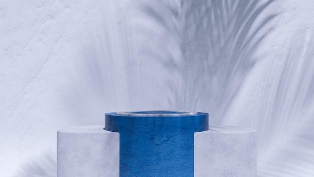 3d drei blau-weißer betonproduktstand abstraktes konzeptdesign