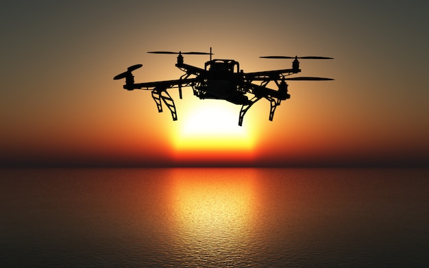 3d-drohne fliegt über einem sonnenuntergangsmeer