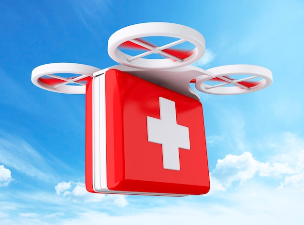 3d drone mit einem erste-hilfe-kit.
