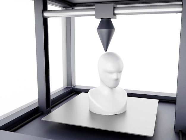 3d-drucker druckt modell des menschlichen kopfes.