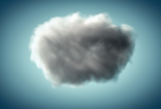 3d dunkle realistische wolke auf blauem hintergrund