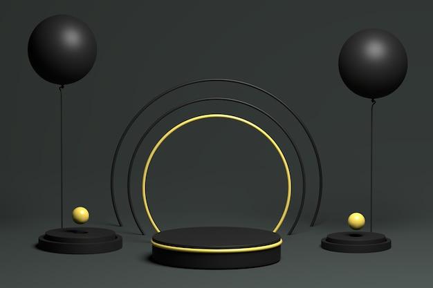 3d dunkles design mit schwarzem podium für produktanzeige