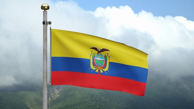 3d, ecuadorianische fahnenschwingen auf wind am berg. nahaufnahme von ecuador banner weht, weiche und glatte seide. stoff textur fähnrich hintergrund.