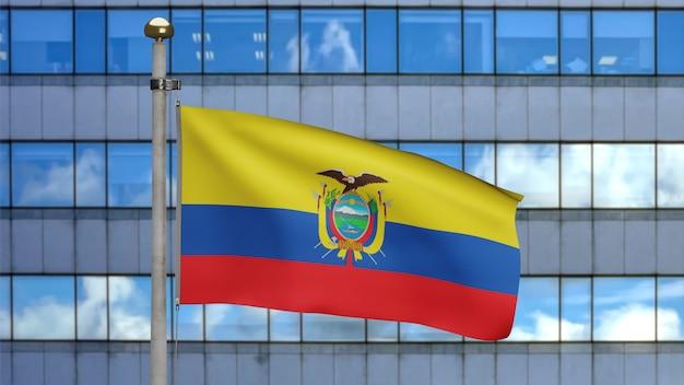 3d, ecuadorianische flagge weht im wind mit moderner wolkenkratzerstadt. ecuador banner weht, weiche und glatte seide. stoff textur fähnrich hintergrund. konzept für nationalfeiertage und länderanlässe.