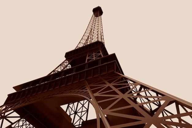 3d eiffelturm auf weißem hintergrund