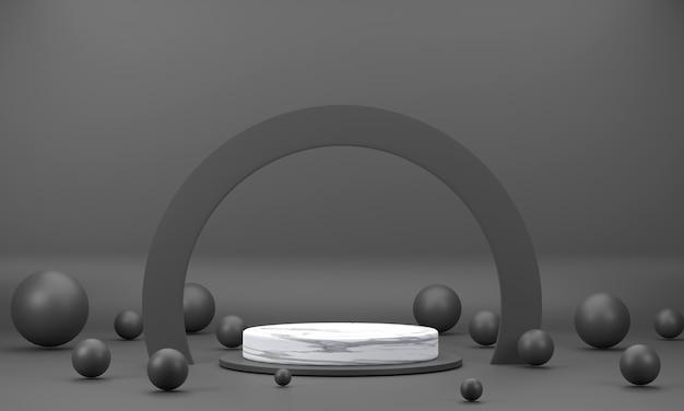 3d. ein rundes marmorpodest, ein halbkreisförmiger ring, der von einer schwarzen szene umgeben ist, mit kugeln.