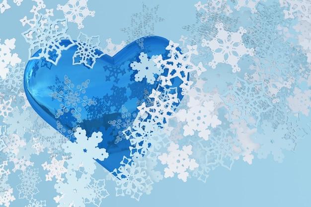 3d eisiges blaues herz mit weihnachtsschneeflocken frohe weihnachten und ein glückliches neues jahr grußkartendesign