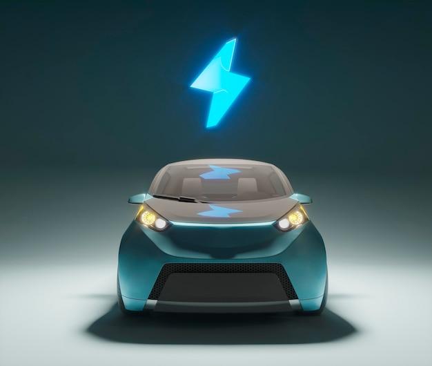 3d elektroauto mit geladenem batteriesymbol