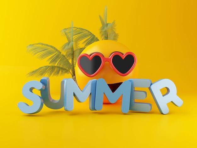 3d emoji mit sonnenbrille. sommerferien-konzept.