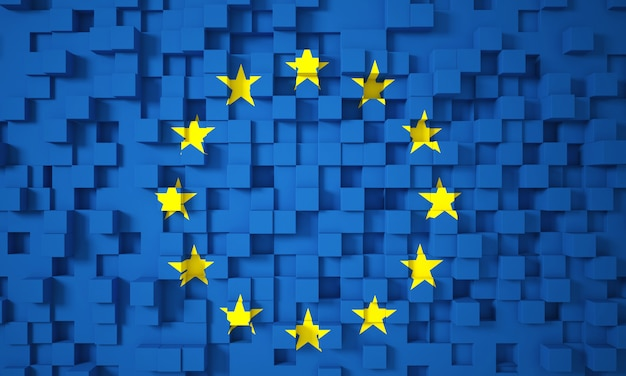 3d europa flagge