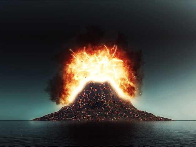 3d explodierende vulkanszene