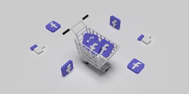 3d-facebook-logo auf warenkorb wie konzept für kreatives marketingkonzept mit weißer oberfläche gerendert