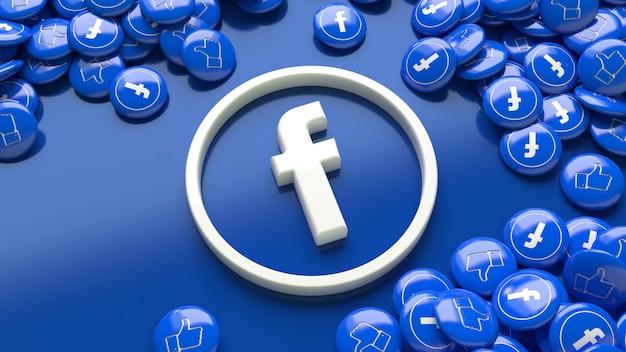 3d-facebook-logo über einem blauen hintergrund, umgeben von vielen glänzenden facebook-pillen