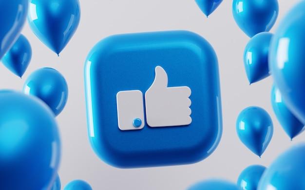 3d facebook wie symbol mit glänzendem ballon