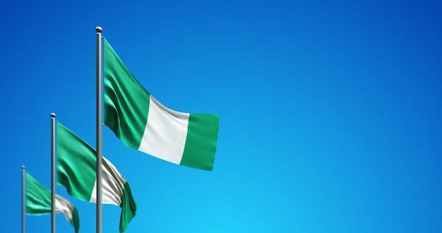 3d-fahnenmast, der nigeria in den blauen himmel fliegt