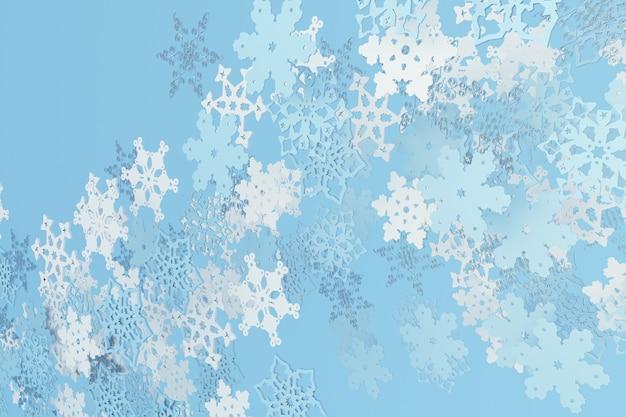 3d fallende weihnachtsschneeflocken auf blauem hintergrund des winters frohe weihnachten und ein glückliches neues jahr-design