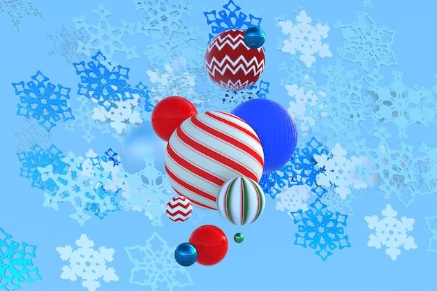 3d fallende weihnachtsschneeflocken-geschenkboxen weihnachtskugeln auf winterhintergrund neujahrsdesign