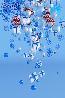 3d fallende weihnachtsschneeflocken-geschenkboxenbälle auf blauem hintergrund des winters neujahrsplakatdesign