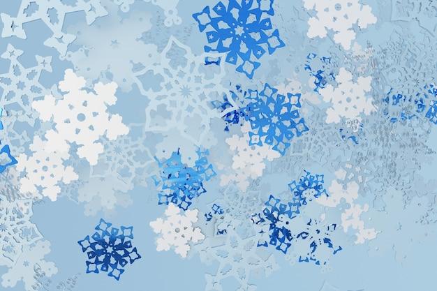 3d fallenweihnachtsschneeflocken winter blauer hintergrund neujahr verschneite tapete schneefall ornament