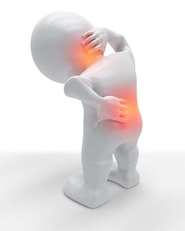 3d-figur hält seinen rücken und nacken vor schmerzen