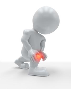 3d-figur mit vor schmerzen hervorgehobenem knie